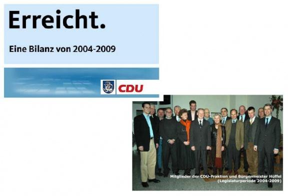 Bilanz der CDU-Ratsfraktion von 2004 bis 2009: Viel erreicht. Noch viel zu tun für Wachtberg.